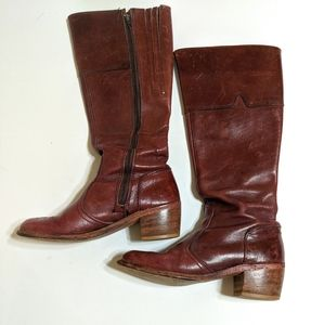 Vtg Dexter riding boots red leather